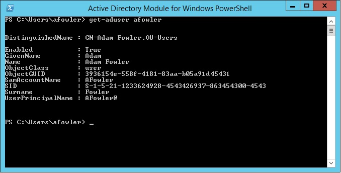 Getting AD User Data via PowerShell