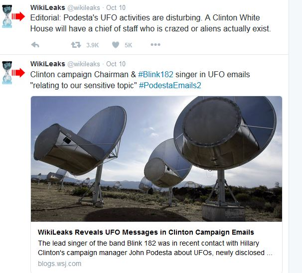 WikiLeaks tweets about UFO e-mail leaks